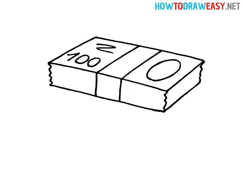 Drawing 100 Dollars Wad