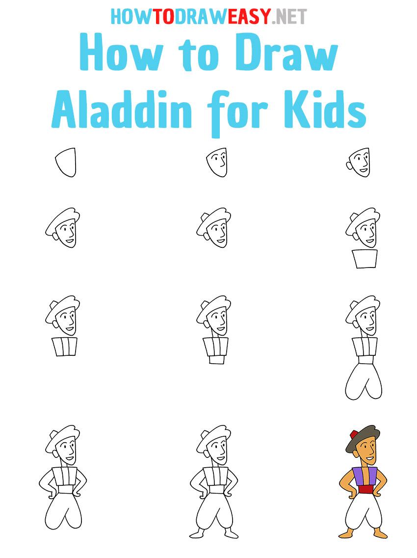 How to Draw Aladdin Step by Step