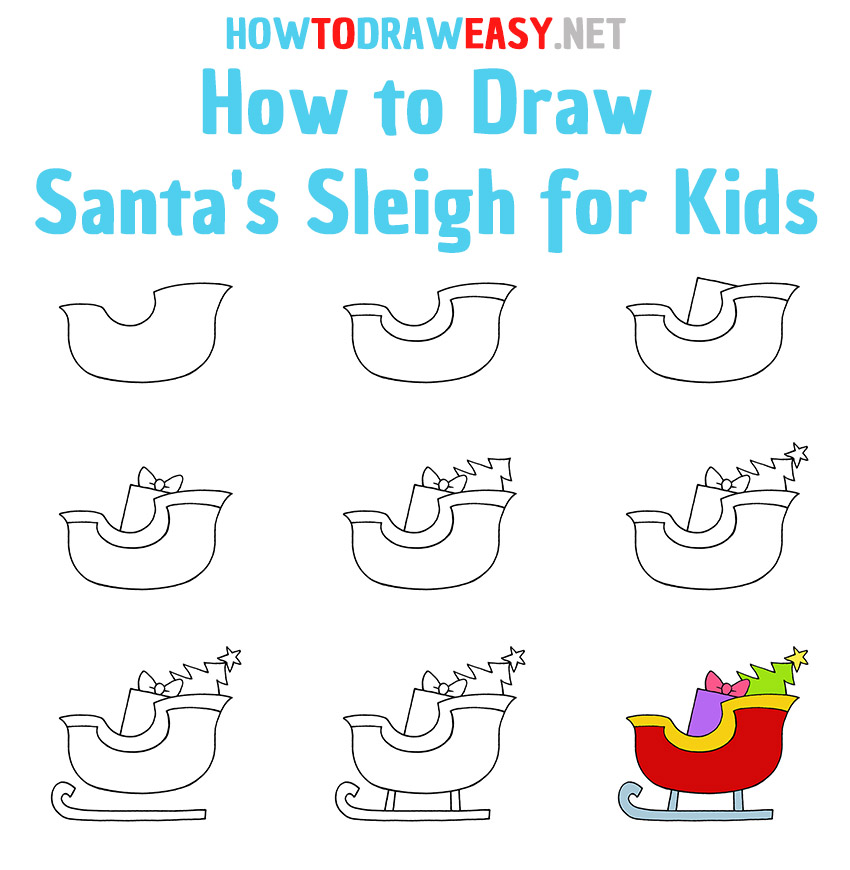 How to Draw Santa's Sleigh Step by Step