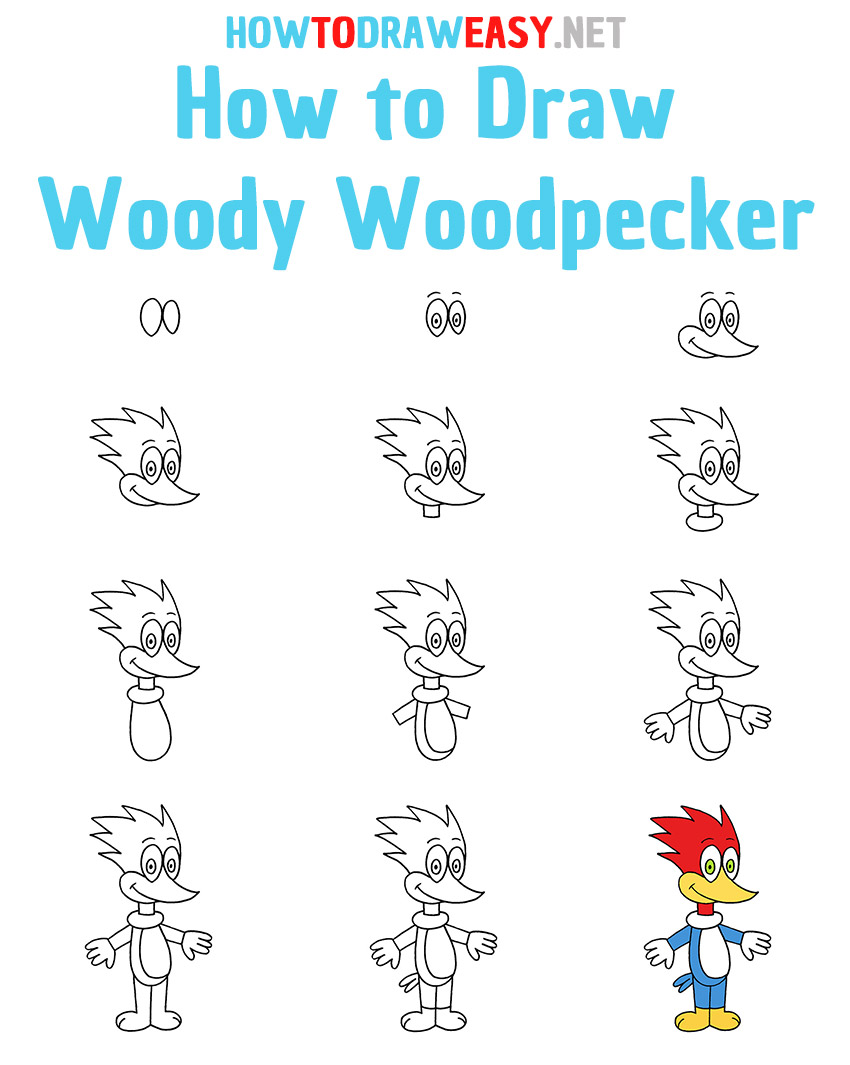 How to Draw Woody Woodpecker Step by Step