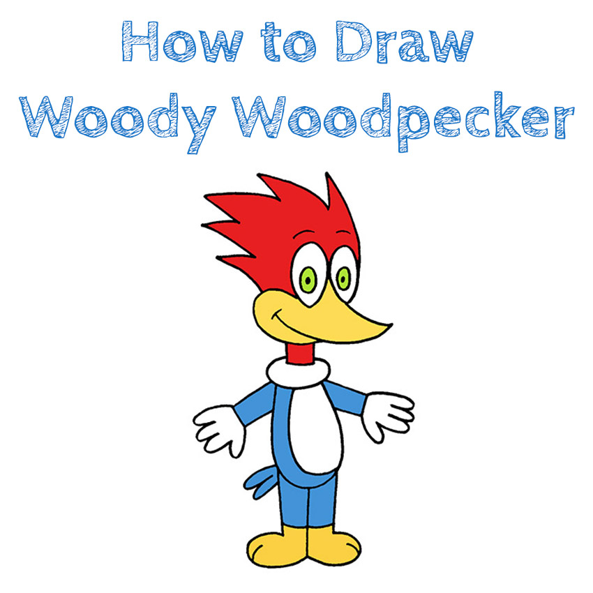 How to Draw Woody Woodpecker for Kids