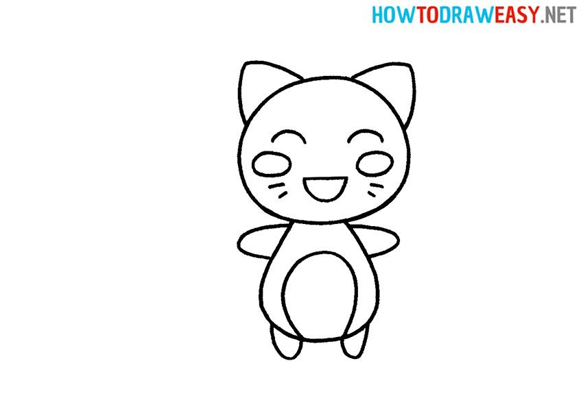 How to Draw a Cartoon Kawaii Cat