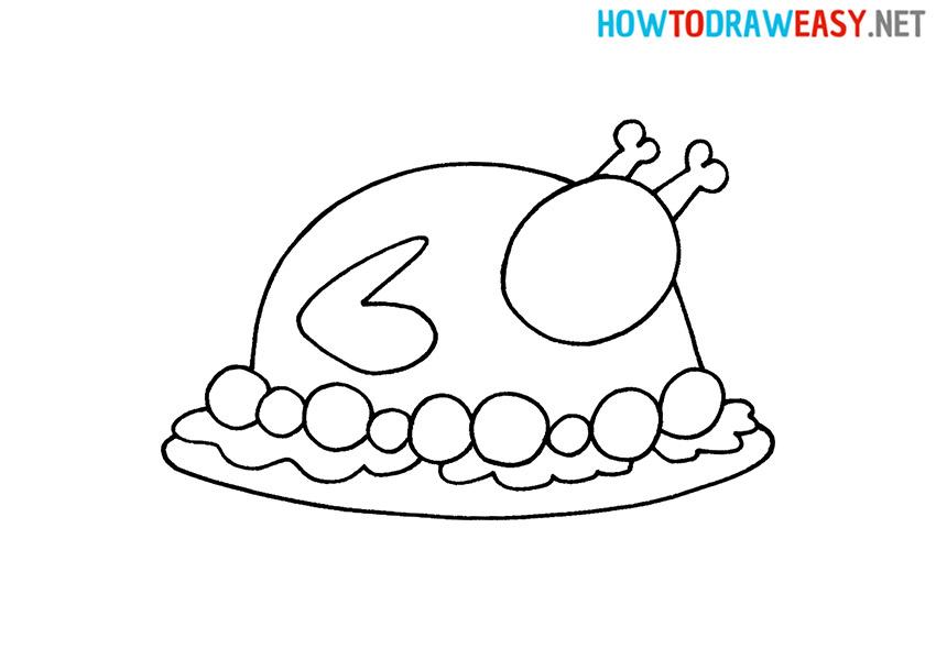 How to Draw a Cartoon Roast Turkey