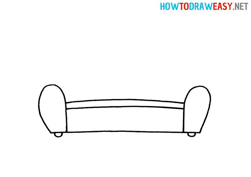 How to Draw a Cartoon Sofa