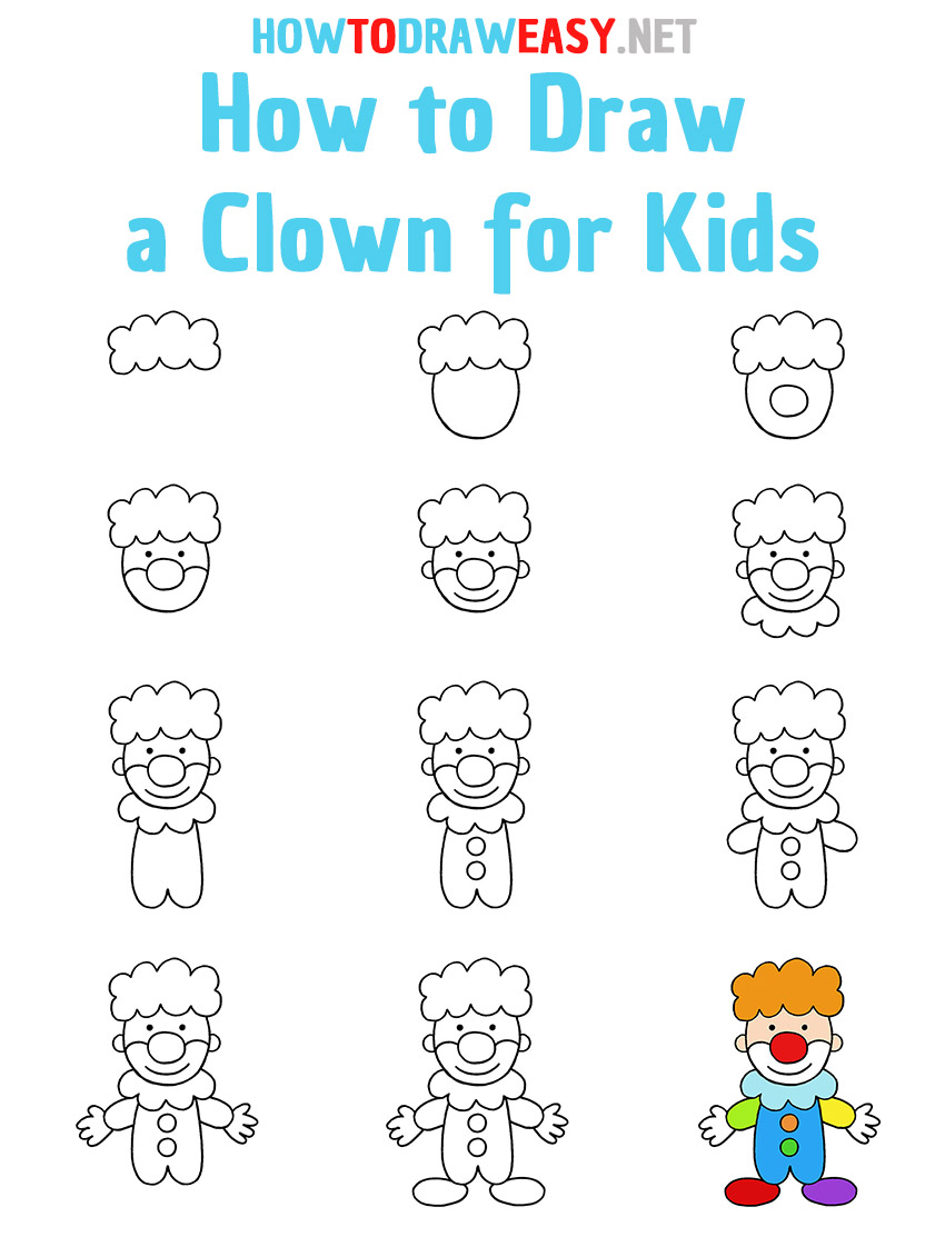 How to Draw a Clown Step by Step