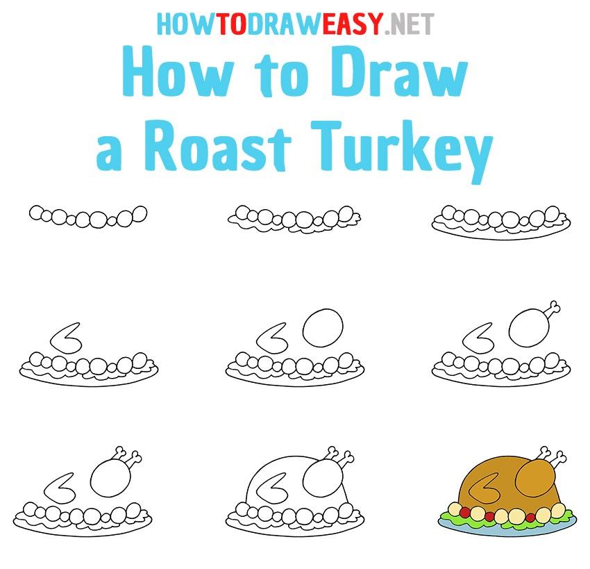 How to Draw a Roast Turkey Step by Step