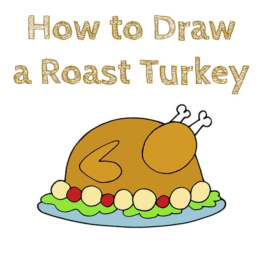 How to Draw a Roast Turkey for Kids