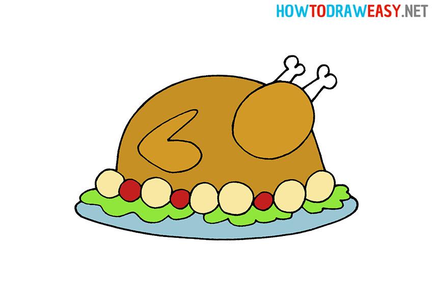 How to Draw a Roast Turkey