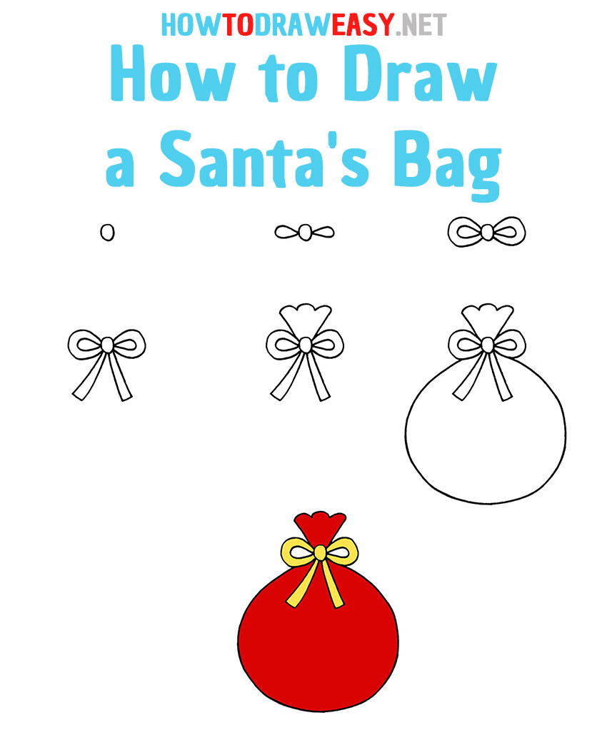 How to Draw a Santa's Bag Step by Step