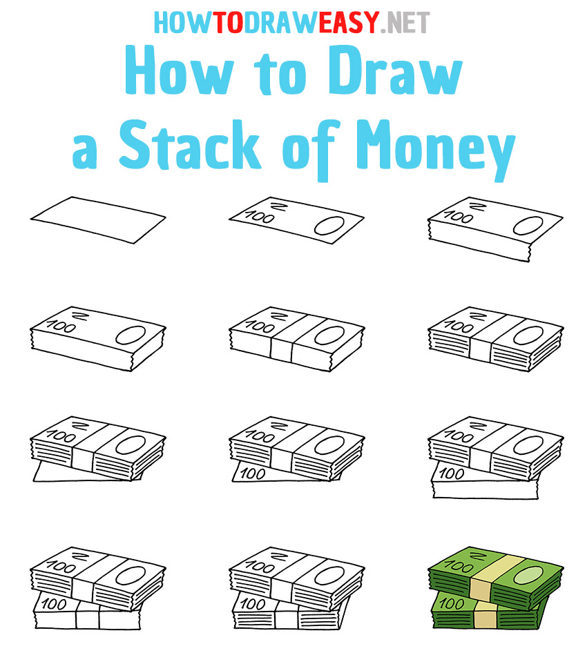 How to Draw a Stack of Money Step by Step