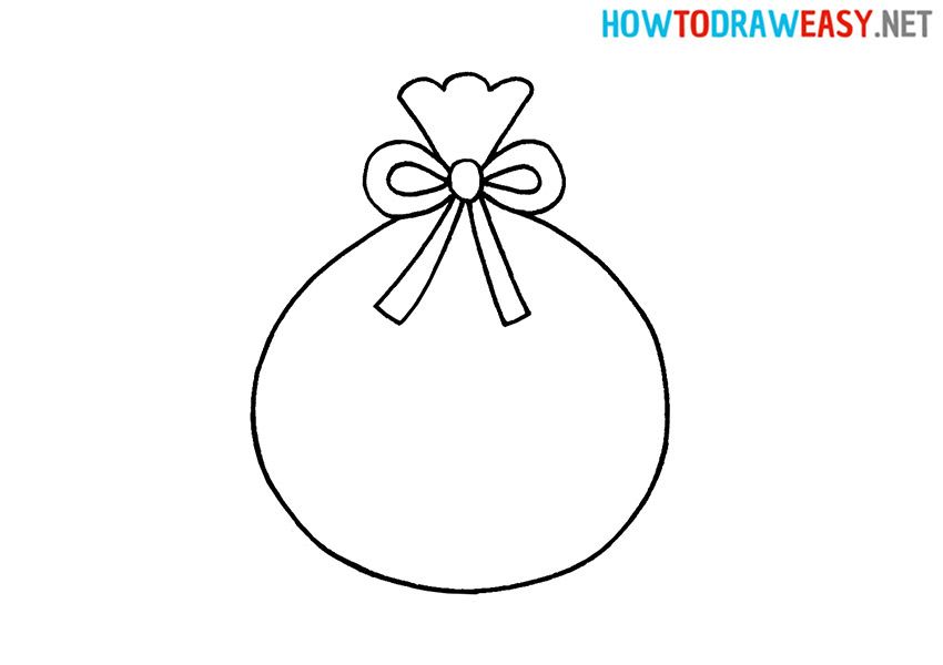 How to Draw an Easy Santa's Bag