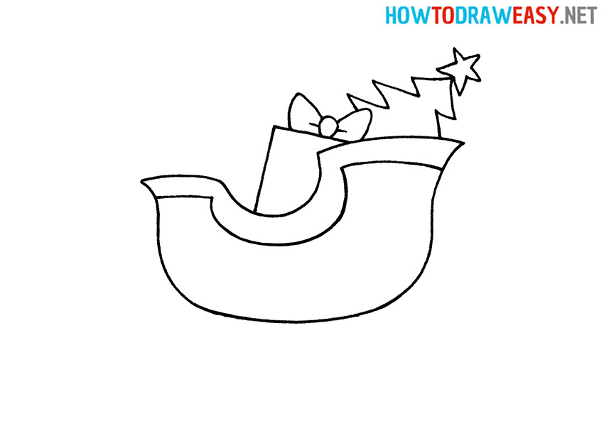 How to Draw an Easy Santa's Sleigh