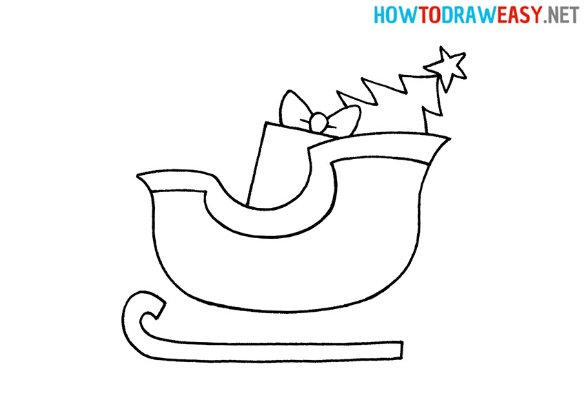 Santa's Sleigh How to Draw