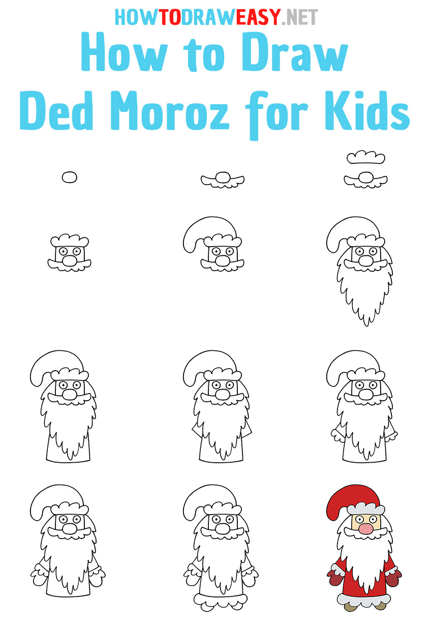 How to Draw Ded Moroz Step by Step