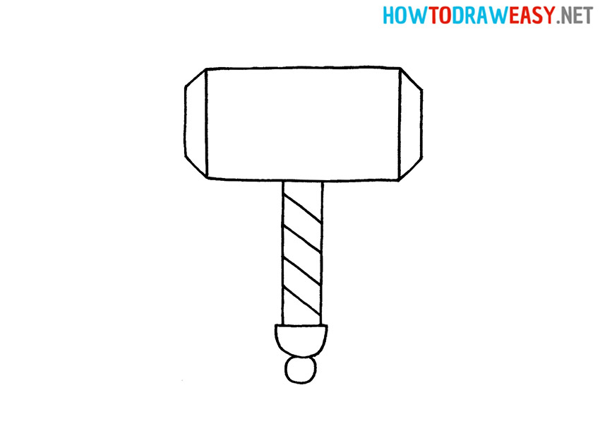 How to Draw Thor's Hammer Easy