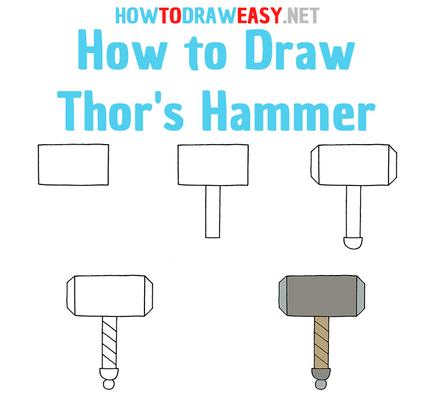 How to Draw Thor's Hammer Step by Step