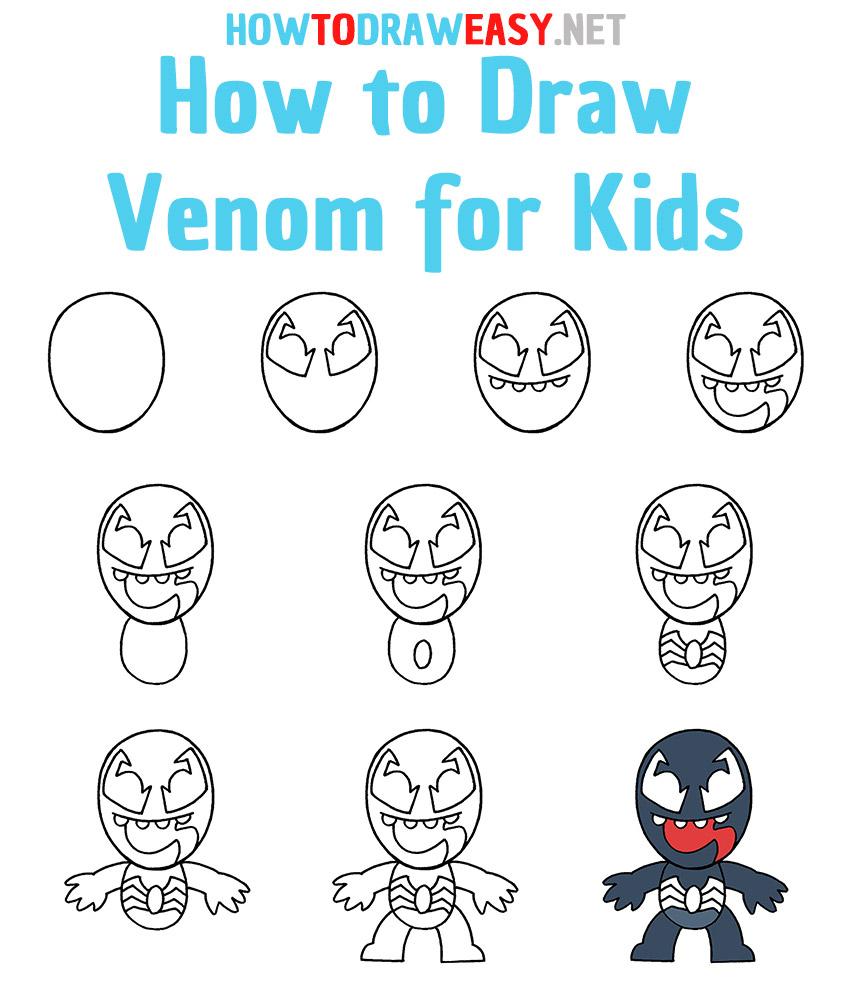 How to Draw Venom Step by Step
