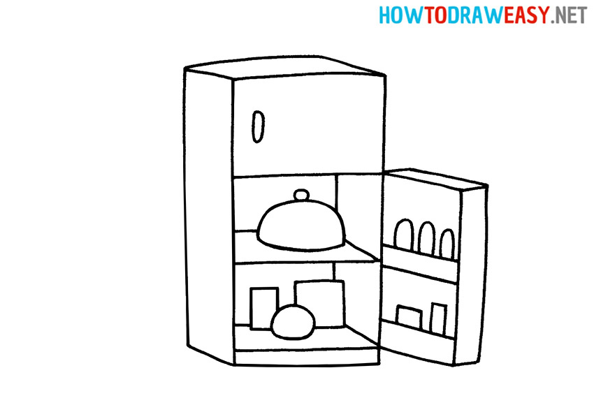 How to Draw a Cartoon Fridge